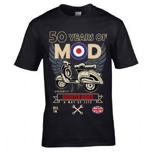 Premium Retro Birthday Anniversary 50 Years Of MOD Target Scooter Rider Old School Mens T-Shirt Top